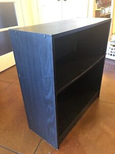 Small black particle board  book shelf with two shelves