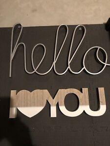 Wall Decor, Hello & I love you Sign! New