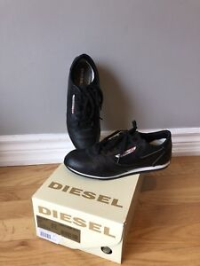 Diesel Womens Black Leather Shoes - Runners,