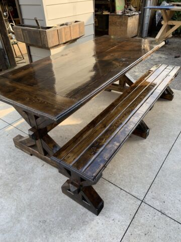 Fantastic Handmade Rustic Harvest Table And Bench Alphanode Cool Chair Designs And Ideas Alphanodeonline