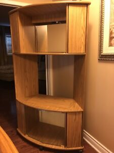 Wood tv stand holds a 42 inch tv