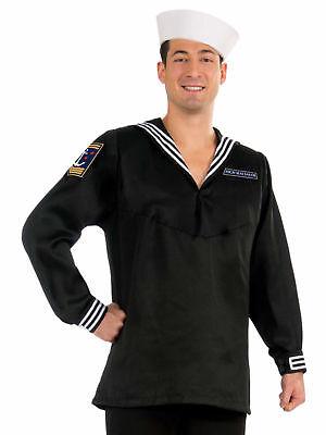 High Seas Black Sailor Costume Mate Marine Navy Village People Mens Adult Anchor - Black People Costumes