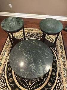3 pc set coffee and side marbles table s
