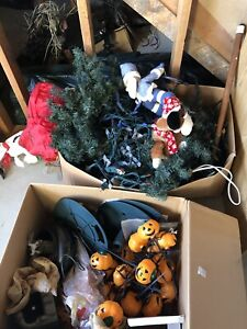 2 boxes of Xmas and Halloween lights and Fibre Optic tree