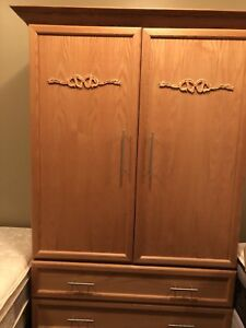 Oak armoire and dresser