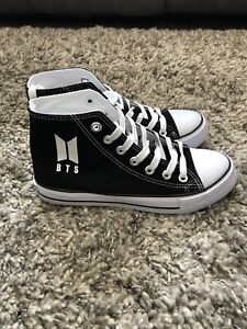 BTS KPOP WOMEN'S HIGH TOPS SHOES SIZE 8,CONVERSE STYLE! New