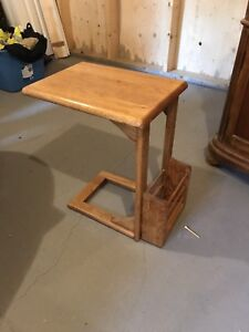 Chair side table with magazine holder
