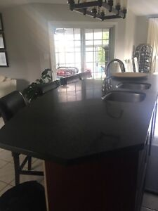 Huge Island quartz counter top and side pieces