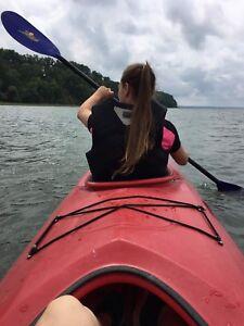 Chalet bord du fleuve avec kayak