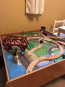 Wooden train table. Reversible.
