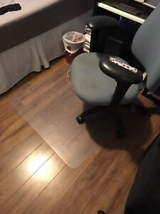 Desk, chair, and chair mat