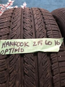 4 Pneus été 215-60-16 10/32 Hankook Optimo