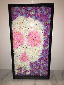 Silk Flowers in a shadow box. Skull