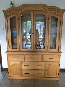 Solid oak dining room set, chairs, table and hutch