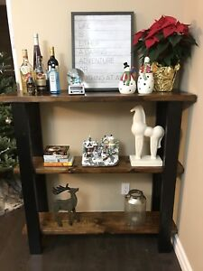 Solid wood console table shelves