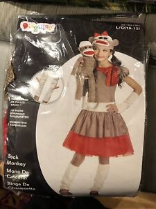 Girls large (10-12) Sock Monkey costume
