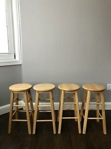 Natural wood bar stools