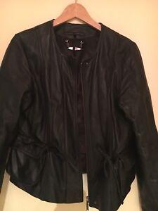 Sandra Angelozzi Ladies Black Leather jacket EUC