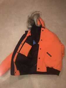 canada goose orange rundle bomber new with tags