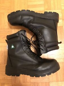 Men's black leather steel toed work boots csa 10