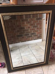 Large Mirror - dark brown with gold accent