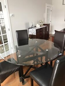 48 inch round glass top wooden pedestal table with 4 faux chairs