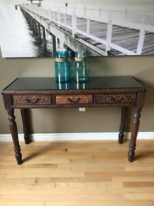 Wood/Wicker Hall Table