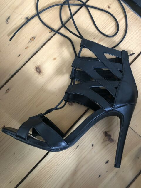 00d2b009e7c Novo black strappy tie up heels - worn once size 6 37