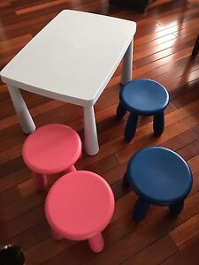 Children's table and four stools