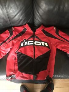 ICON contra red motorcycle jacket