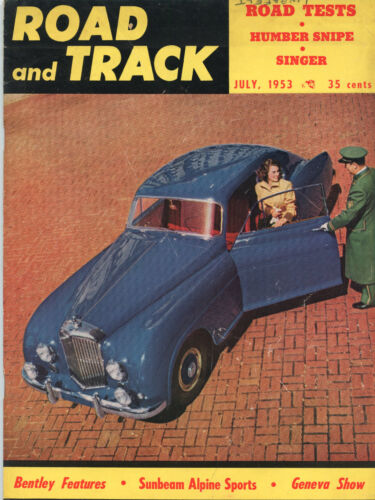 July 1953 Road and Track Magazine Bentley Cover
