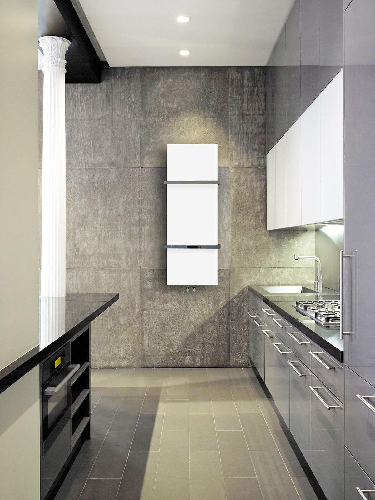 Designer Towel Radiator White 500mm wide 1000mm high ...