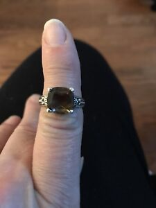 Italian Stirling Silver smoky 2 kt Diamond ring size 6 1/2