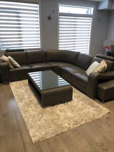 Sectional real italian leather sofa + matching table