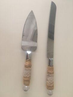 Rustic wedding cake knife & server