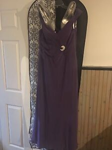Sleeveless Purple Sophia Tolli Gown and Sparkly Heels