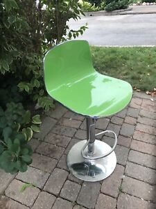 2 green and chrome bar stools