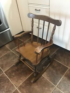 Vintage Children's Solid Wood Rocking Chair