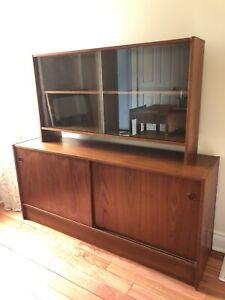Mid century modern teak sideboard and floating hutch