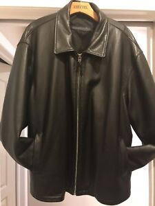 Black Leather Bomber Roots Jacket - XL