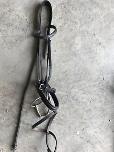 """Leather dressage bridle with 5 3/4"""" French link bit"""