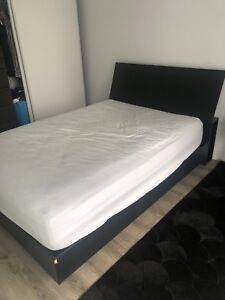 Bed frame, headboard and mattress