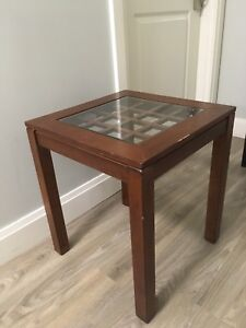 WOODEN SIDE TABLE WITH GLASS TOP!