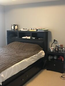 Queen bed for sale with night table and headboard