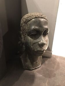 African soapstone hand carved antique bust sculpture