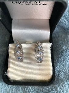 White Gold and Sapphire Earrings .
