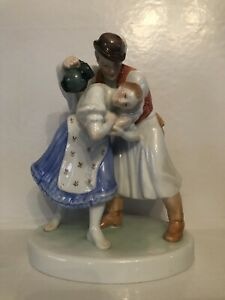 Herend Hungary embracing dancing couple porcelain figurines