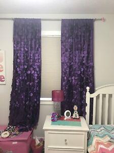 Purple kids curtains