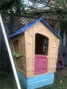 Swing set and playhouse