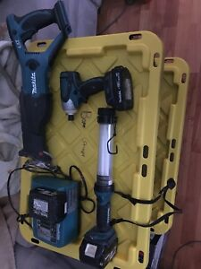 Makita Recip Saw, Trouble Light, Impact Driver, Charger